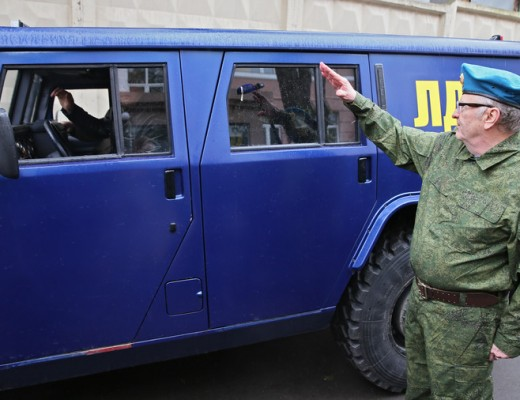 Valadimir Zhirinovsky sends millitary vehicle, a GAZ-2975 Tigr