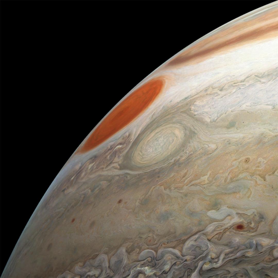 NASA показало впечатляющий снимок урагана наЮпитере
