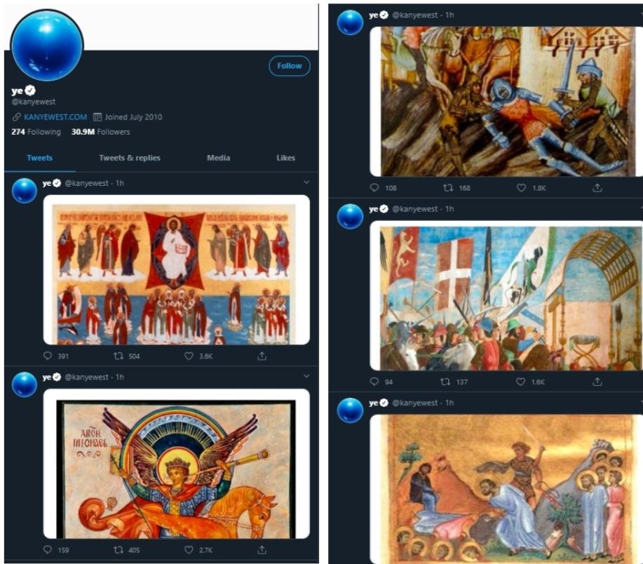 Канье Уэст, кандидат в президенты США, превратил свой Twitter-аккаунт в «галерею» православных икон