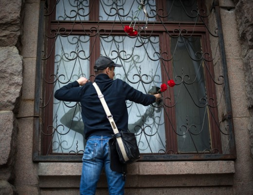Locals check inside the burnt Trade Union building in Odessa